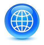 World icon glassy cyan blue round button Stock Photos
