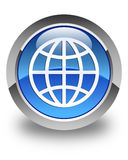World icon glossy blue round button Stock Photo
