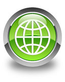 World icon glossy green round button Royalty Free Stock Photography