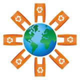World icon rounded for bags with recycling symbol Stock Image