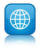 World icon special cyan blue square button Stock Photo