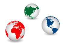 World icons. World globe icons and white background Stock Photos