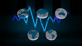World - Icons - Graphics - Blue 02 stock footage