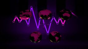 World - Icons - Graphics - Purple 02 stock footage