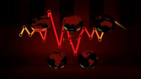 World - Icons - Graphics - Red 02 stock footage