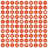 100 world icons hexagon orange. 100 world icons set in orange hexagon isolated vector illustration Stock Image