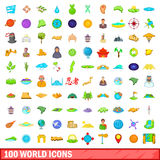 100 world icons set, cartoon style. 100 world icons set in cartoon style for any design vector illustration Stock Illustration