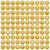 100 world icons set gold. 100 world icons set in gold circle isolated on white vector illustration Stock Illustration