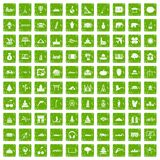100 world icons set grunge green. 100 world icons set in grunge style green color isolated on white background vector illustration Stock Photo