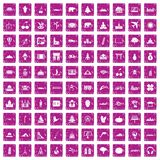 100 world icons set grunge pink. 100 world icons set in grunge style pink color isolated on white background vector illustration Royalty Free Illustration