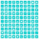 100 world icons set grunge blue Royalty Free Stock Images