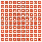 100 world icons set grunge orange. 100 world icons set in grunge style orange color isolated on white background vector illustration royalty free illustration