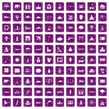 100 world icons set grunge purple Royalty Free Stock Image