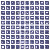 100 world icons set grunge sapphire. 100 world icons set in grunge style sapphire color isolated on white background vector illustration Royalty Free Stock Photography