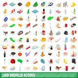100 world icons set, isometric 3d style Royalty Free Stock Photos