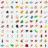 100 world icons set, isometric 3d style Royalty Free Stock Image
