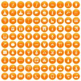 100 world icons set orange. 100 world icons set in orange circle isolated on white vector illustration vector illustration
