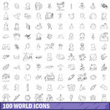 100 world icons set, outline style Royalty Free Stock Photos