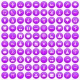 100 world icons set purple. 100 world icons set in purple circle isolated on white vector illustration Stock Image