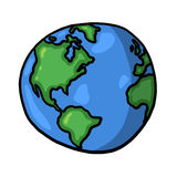World illustration. Globe illustration; Isolated planet earth cartoon Royalty Free Stock Photo