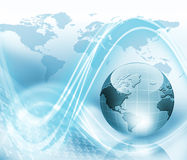 World illustration. A light blue illustration with the world map and wave patterns and a computer Stock Photo