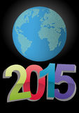 2015 world. Illustration of 2015 text with world in background Royalty Free Stock Photos