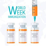 World immunization week concept, flat vector design. World immunization week concept. Syringe and bottles of vaccine, vector illustration in flat style. Square royalty free illustration