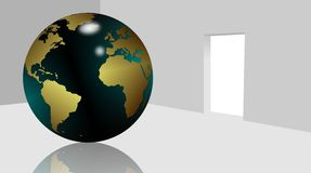 World indoors. Earth globe placed in the middle of a white room Royalty Free Stock Photo