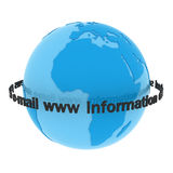 The world of the information. Isolated Blue globe with inscriptions Stock Images