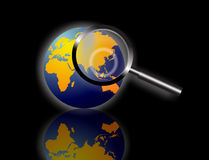 World information search. An image of the world globe showing the earth in round form. The image is for the concept of global information search and security and Stock Images