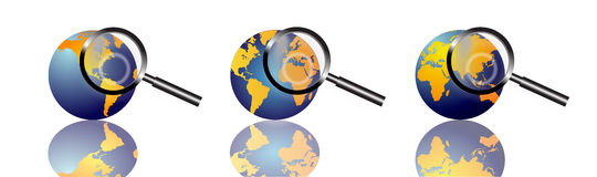 World information search. An image showing three world globe showing the earth in round form. The image is for the concept of global information search and Stock Photography