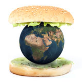 The world inside a sandwich. 3d illustration Royalty Free Stock Image