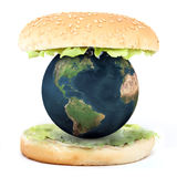 The world inside a sandwich. 3d illustration Stock Photography