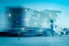 World international map connection connect network. With blurred distribution logistic cargo warehouse background royalty free stock images