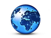 World internet. World globe interconnected by wire fiber optics Stock Photography