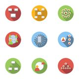 World internet icons set, flat style. World internet icons set. Flat illustration of 9 world internet vector icons for web Royalty Free Stock Images