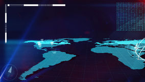 World Internet map with bits and columns on it. Arty 3d rendering of the Internet map in light blue colors with bar charts, colums  and compass dials on it and Royalty Free Stock Images