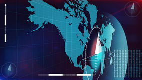 World Internet map with bits covering it. 3d illustration of the Internet map in light blue colors with compass dials on it and a lot of bits from such figures Stock Photography