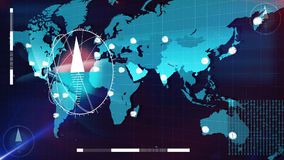World Internet map with clocks and columns on it. Futuristic 3d rendering of the Internet map in light blue tints with white clock faces and three compasses on Royalty Free Stock Images