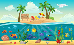 World Island Composition. Colored underwater world island composition with sandy beach sun beds and ocean around vector illustration Stock Photography