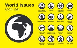 World issues icons set. Sustainability problems vector illustration