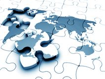 World jigsaw. 3D render of a jigsaw of the world with a piece missing Royalty Free Stock Photos