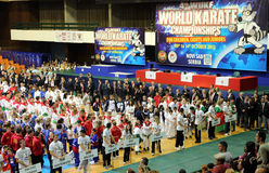 World Karate Championships 2012. TODAY(14.10.) IS THE LAST DAY OF THE 4th WORLD KARATE CHAMPIONSHIPS FOR CHILDREN, CADETS AND JUNIORS IN SERBIA , CITY OF NOVI Stock Images