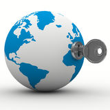 World and key on white background Royalty Free Stock Images