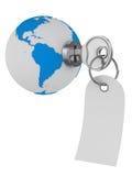 World and key on white background Stock Images