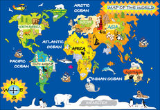 Cartoon Animal World Map For Children And Kids Stock Vector