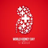 World Kidney day with white Cross sign Kidney on red background vector design Royalty Free Stock Images