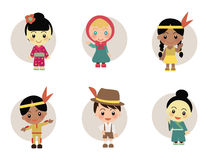World Kids from Japan Holland Indian Stock Images