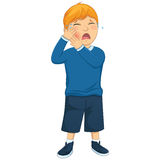 Isolated Kid Tooth Pain Vector Illustration. 