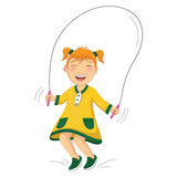 Vector Illustration Of A Little Girl Doing Skippin Stock Photography